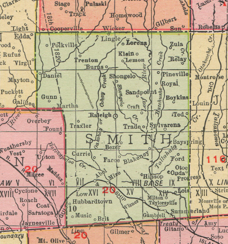 Smith County, Mississippi, 1911, Map, Rand McNally, Raleigh ... on leflore county map site, tyler map site, white county map site,