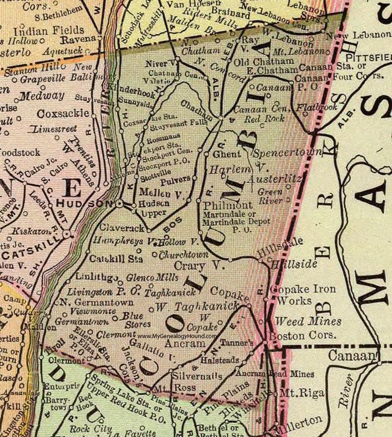 Hudson Ny Map >> Columbia County New York 1897 Map By Rand Mcnally Hudson Ny
