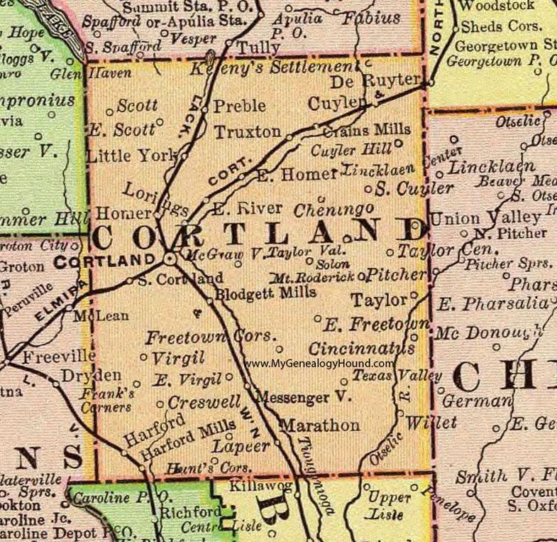 Cortland County, New York 1897 Map by Rand McNally, NY on