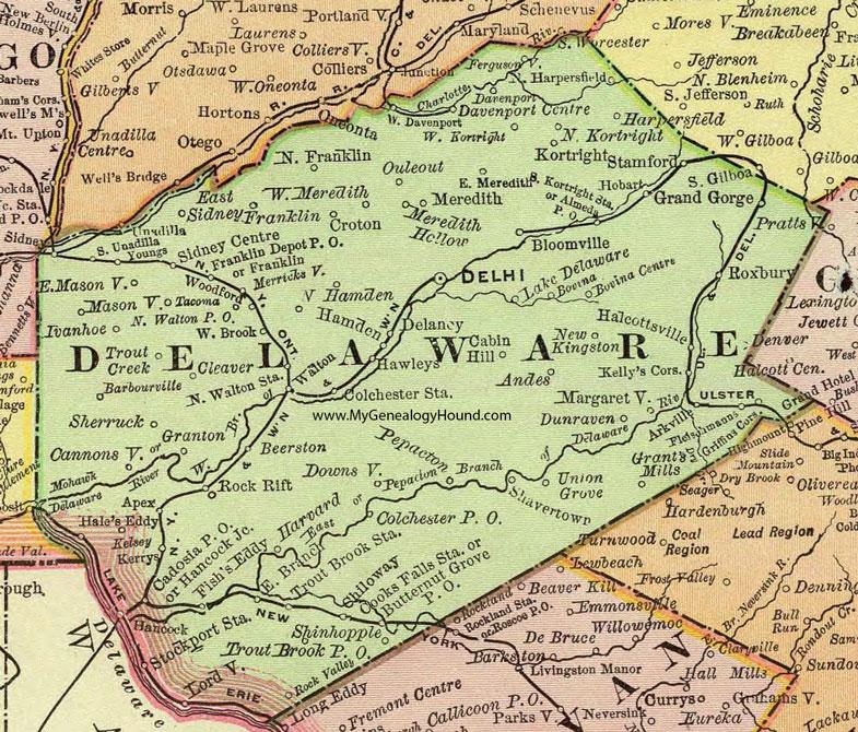 Delaware County, New York 1897 Map by Rand McNally, Delhi, NY on