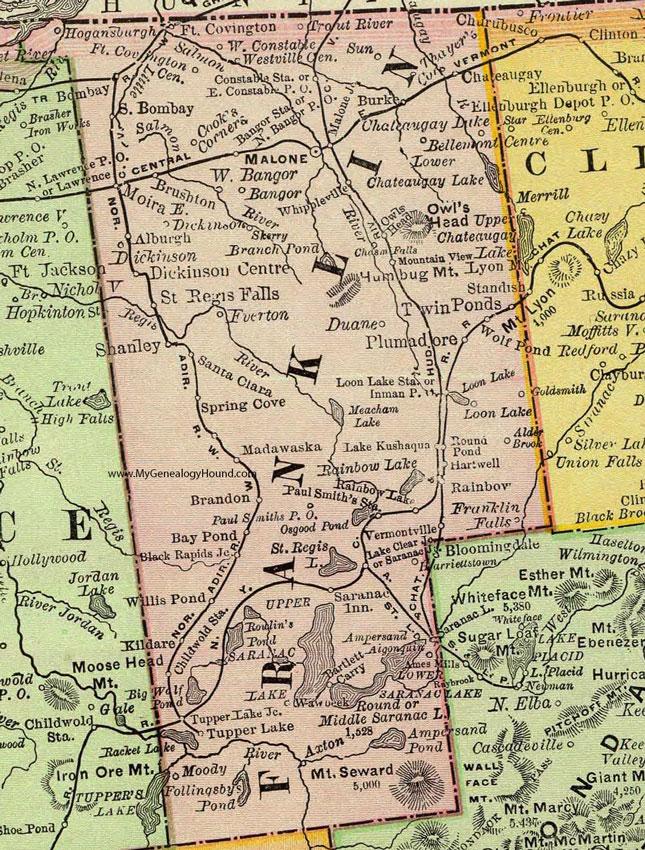 Franklin County Ny Map Franklin County, New York 1897 Map by Rand McNally, Malone, NY Franklin County Ny Map