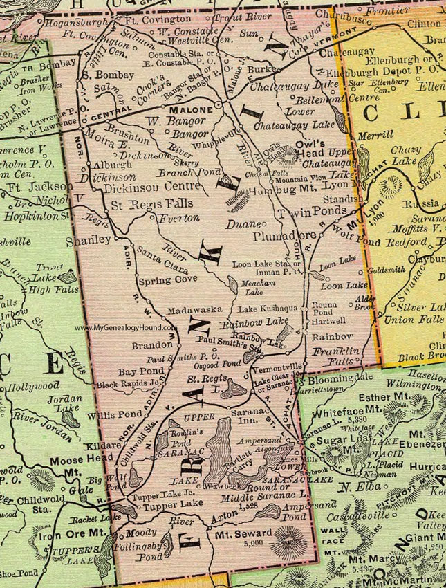Franklin County, New York 1897 Map by Rand McNally, Malone, NY