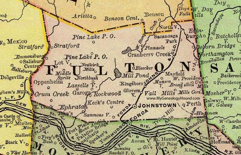 Johnstown New York panoramci map c1871 24x18