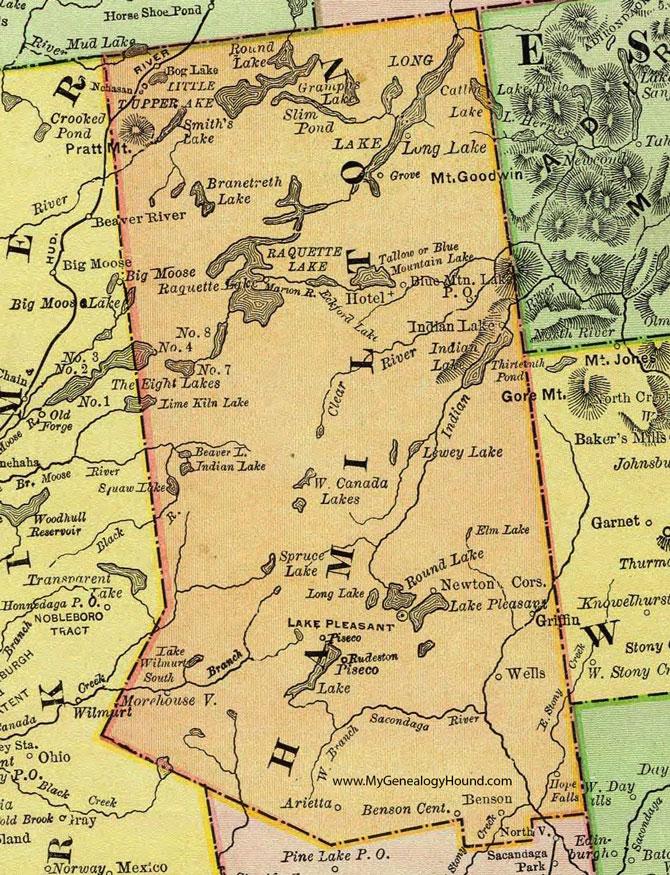 Hamilton County Ny Map Hamilton County, New York 1897 Map by Rand McNally, Lake Pleasant, NY
