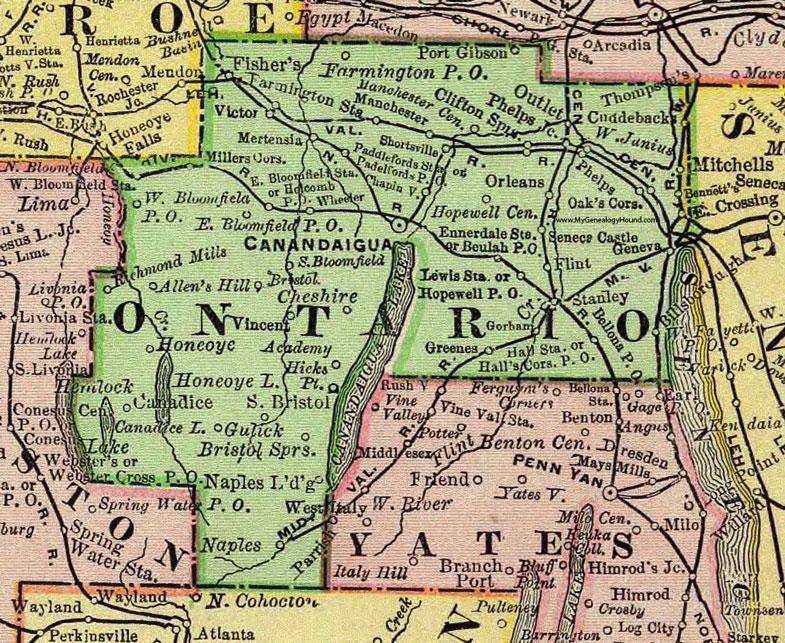 Ontario County Map Ontario County, New York 1897 Map by Rand McNally, Canandaigua, NY