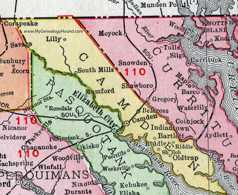 Camden County, North Carolina, 1911, Map, Rand McNally, Shiloh ... on