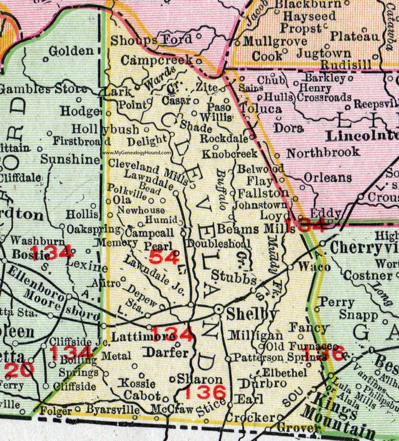 Shelby Nc Map Cleveland County, North Carolina, 1911, Map, Rand McNally, Shelby