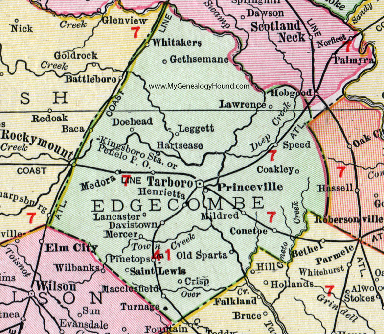 Rocky Mountain North Carolina Map Edgecomb County, North Carolina, 1911, Map, Rand McNally, Tarboro