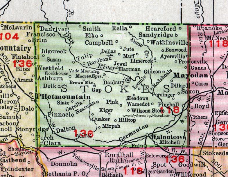 Stokes County North Carolina 1911 Map Rand Mcnally Walnut Cove