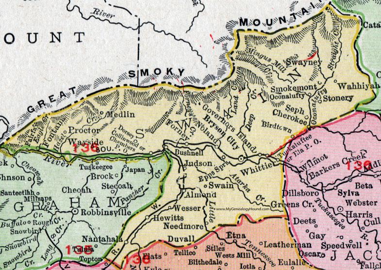 Swain County, North Carolina, 1911, Map, Rand McNally, Bryson City on