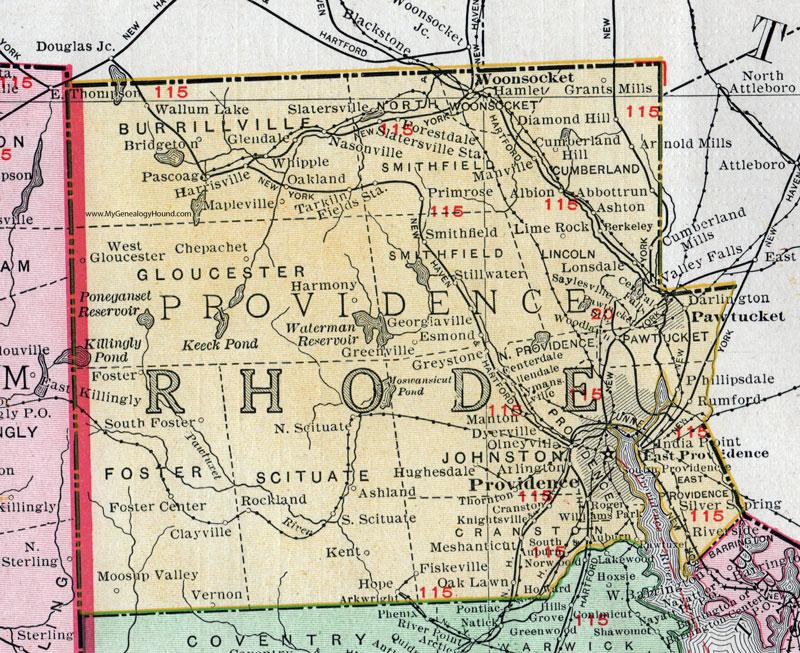 Providence County, Rhode Island, 1911, Map, Rand McNally ...