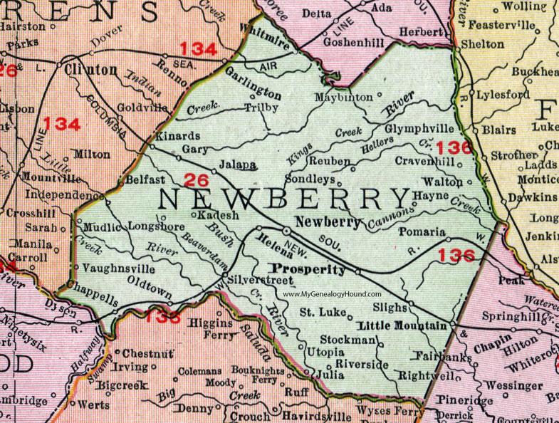 Newberry South Carolina Map Newberry County, South Carolina, 1911, Map, Rand McNally, City of