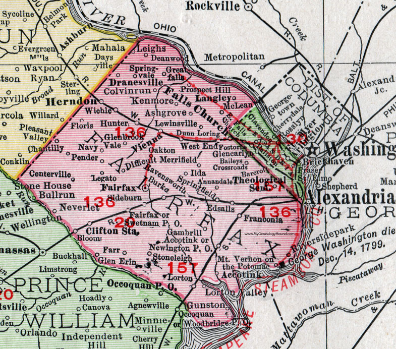 Fairfax Va Map Fairfax County, Virginia, Map, 1911, Rand McNally, Falls Church  Fairfax Va Map