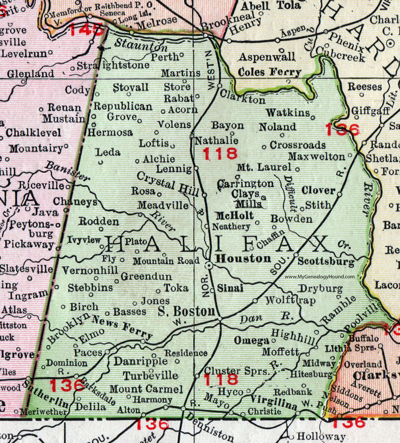 Halifax County, Virginia, Map, 1911, Rand McNally, Houston ... on map of nottoway co va, map of colleges in virginia, map of bath co va, map of halifax co nc, map of patrick co va, map of nelson co va, map of carroll co va, map of orange co va, map of wythe co va,