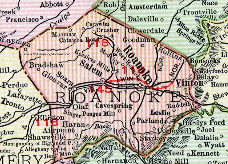 Map Of Roanoke Va Roanoke County, Virginia, Map, 1911, Rand McNally, Salem, Vinton