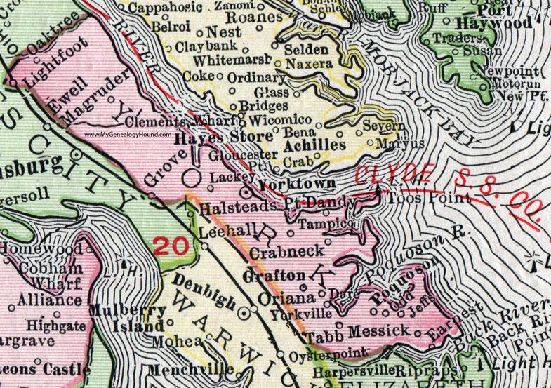 York County Virginia Map York County, Virginia, Map, 1911, Rand McNally, Yorktown, Grafton