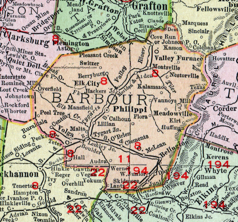 Barbour County, West Virginia 1911 Map by Rand McNally ...
