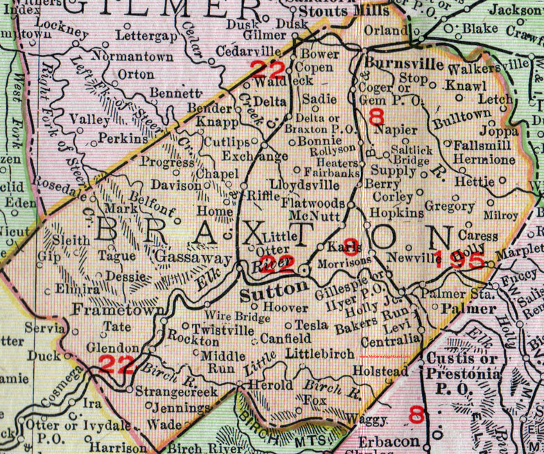 Braxton County, West Virginia 1911 Map by Rand McNally ...