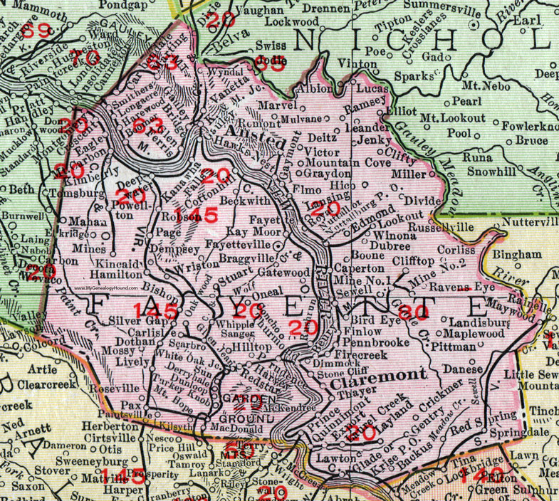 Fayette County, West Virginia 1911 Map by Rand McNally, Fayetteville ...