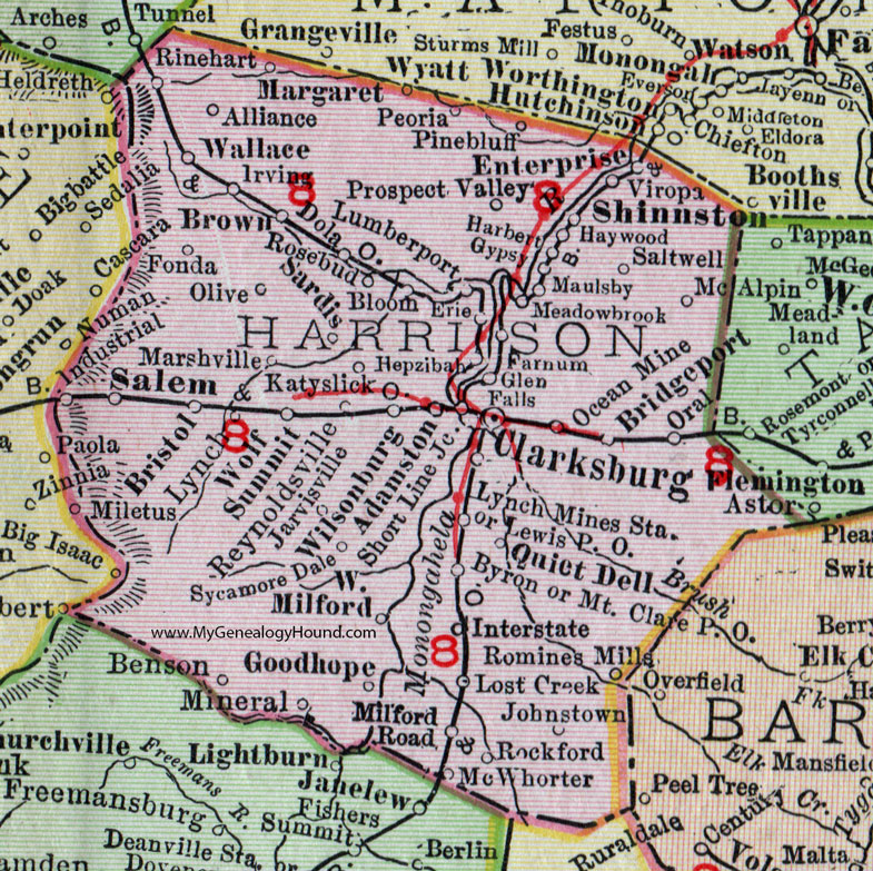 Harrison County, West Virginia 1911 Map by Rand McNally