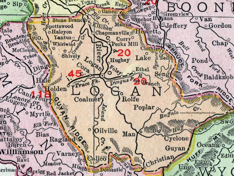 Logan County, West Virginia 1911 Map by Rand McNally ...