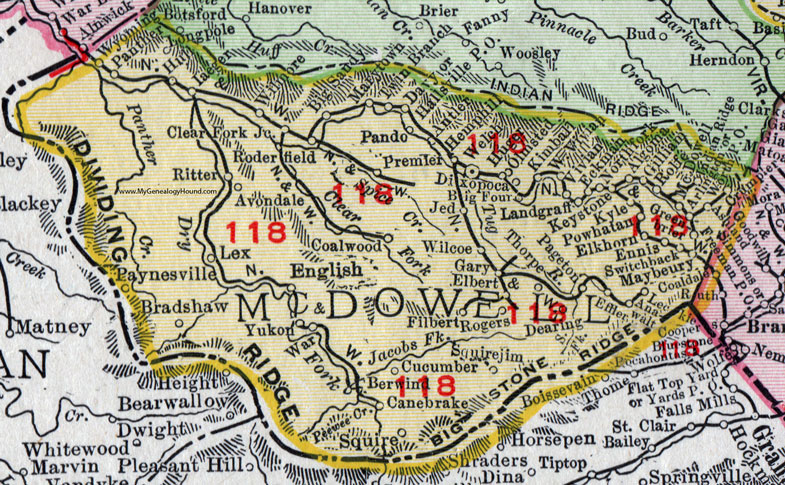 McDowell County, West Virginia 1911 Map by Rand McNally, Welch ...