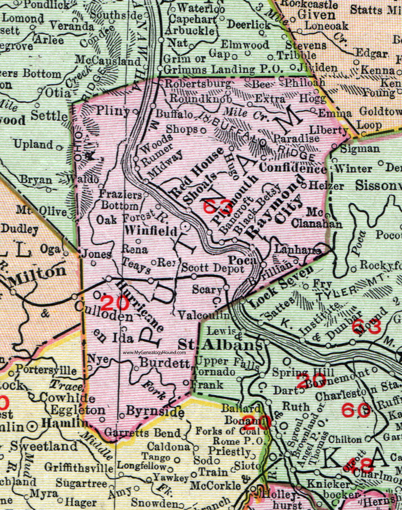 Putnam County, West Virginia 1911 Map by Rand McNally, Winfield ...