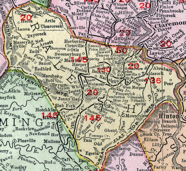 Raleigh County, West Virginia 1911 Map by Rand McNally, Beckley ...