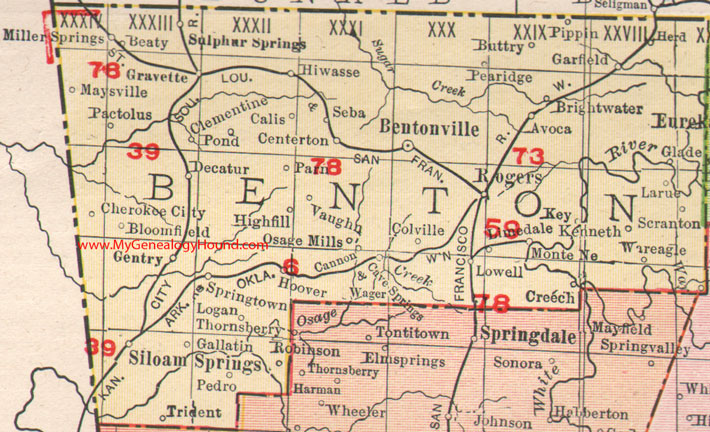 Benton County Parcel Map Benton County, Arkansas 1909 Map