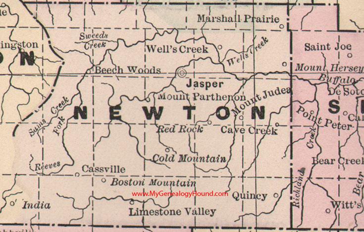 Newton County, Arkansas 1889 Map