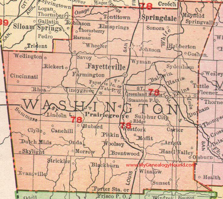 Washington County, Arkansas 1909 Map