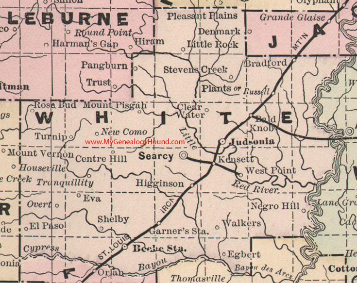 White County, Arkansas 1889 Map