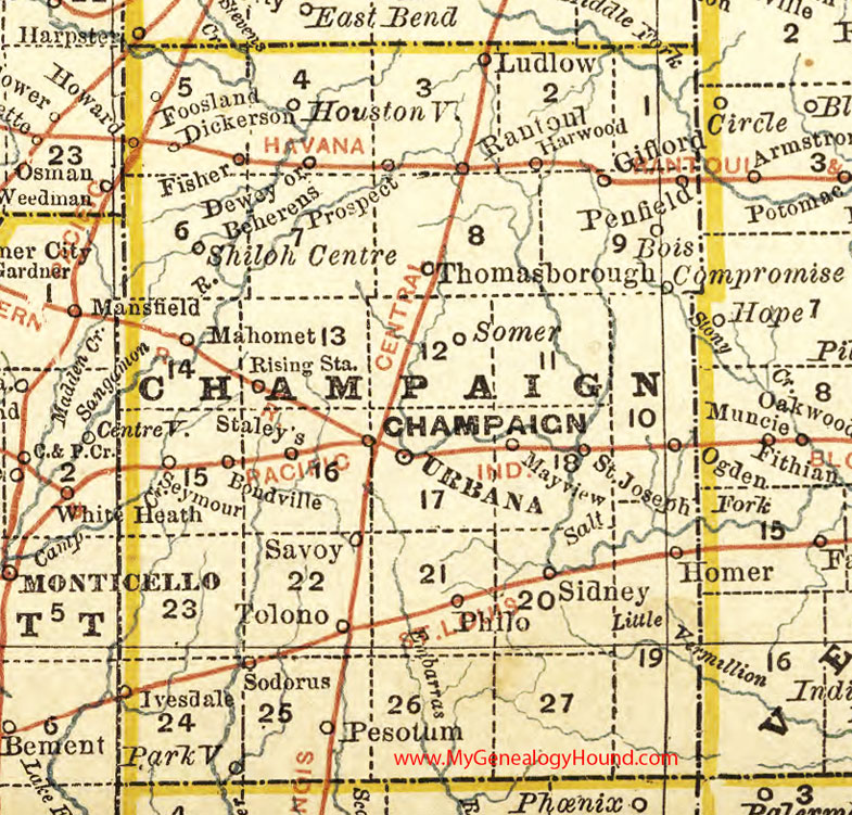 Map Of Champaign Il Champaign County, Illinois 1881 Map, Urbana Map Of Champaign Il