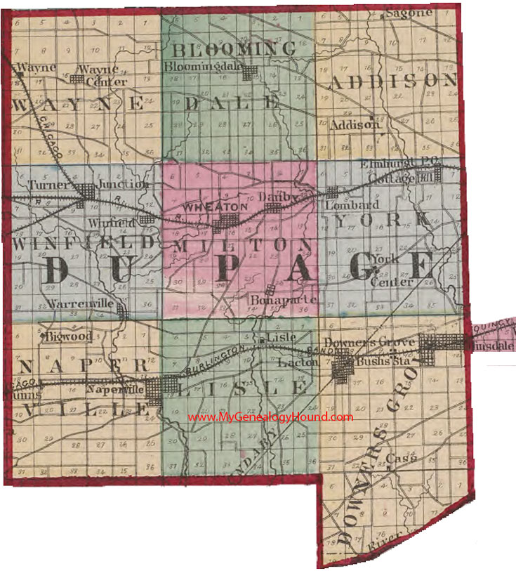 Dupage County Map DuPage County, Illinois 1870 Map