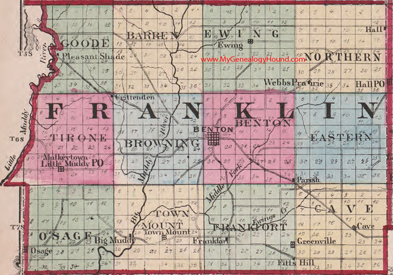 Franklin County Property Maps Franklin County, Illinois 1870 Map