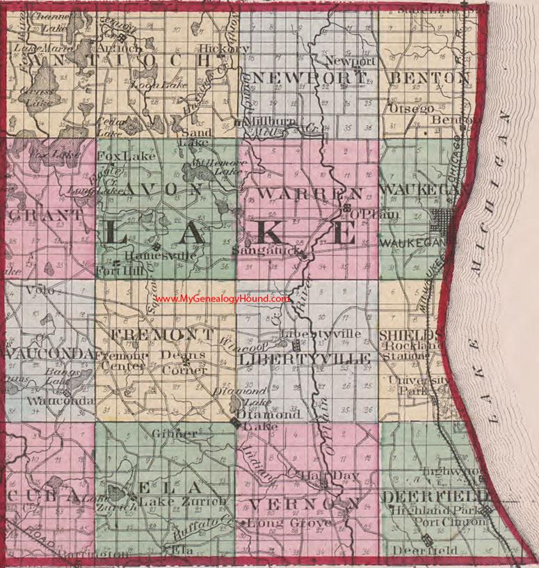 Lake County Illinois Map Lake County, Illinois 1870 Map