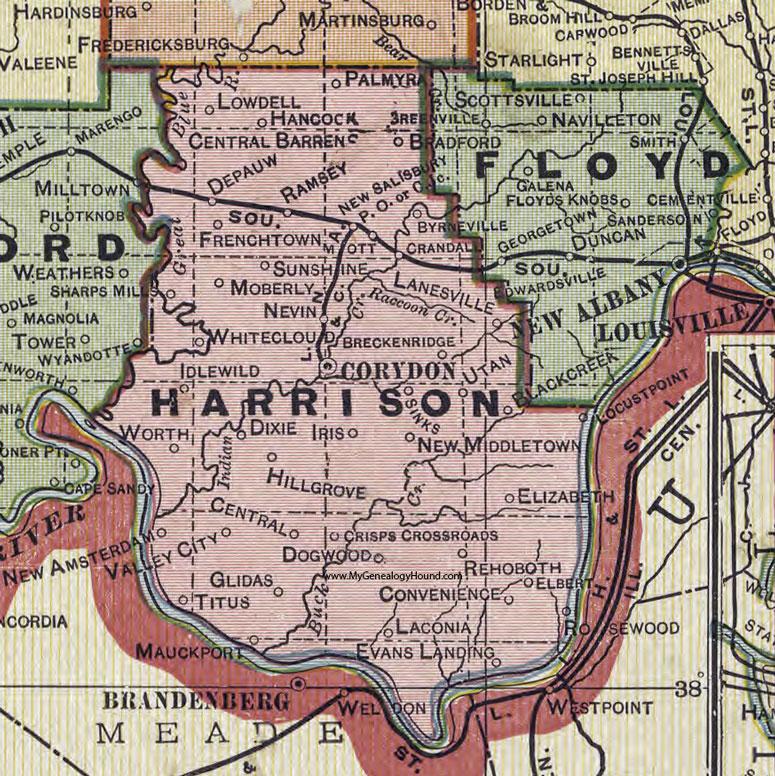 Harrison County Indiana 1908 Map Corydon