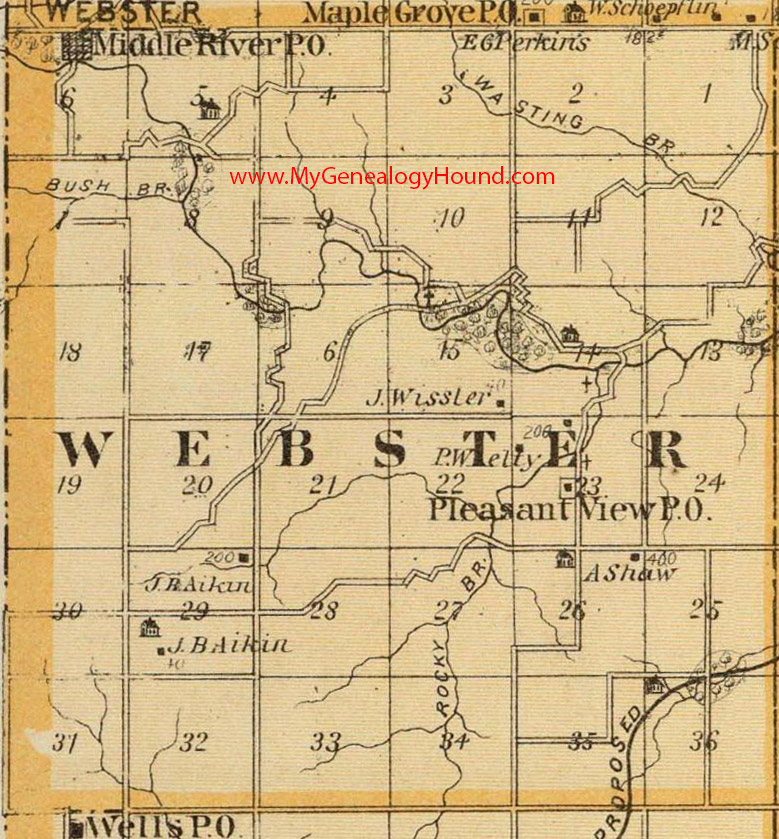 map of madison county iowa Webster Township Madison County Iowa 1875 Map map of madison county iowa