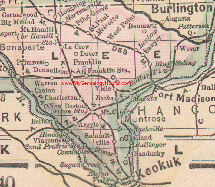Lee County Iowa 1905 Map
