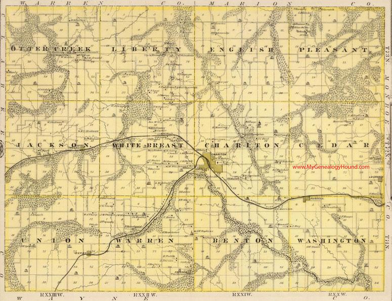 Iowa County Iowa Map.Lucas County Iowa 1875 Map