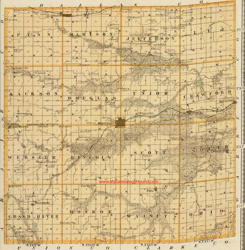 map of madison county iowa Madison County Iowa 1875 Map map of madison county iowa