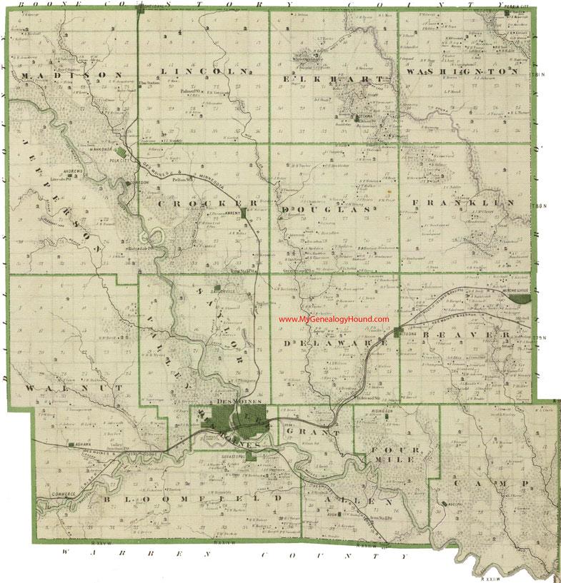 Polk County, Iowa 1875 Map