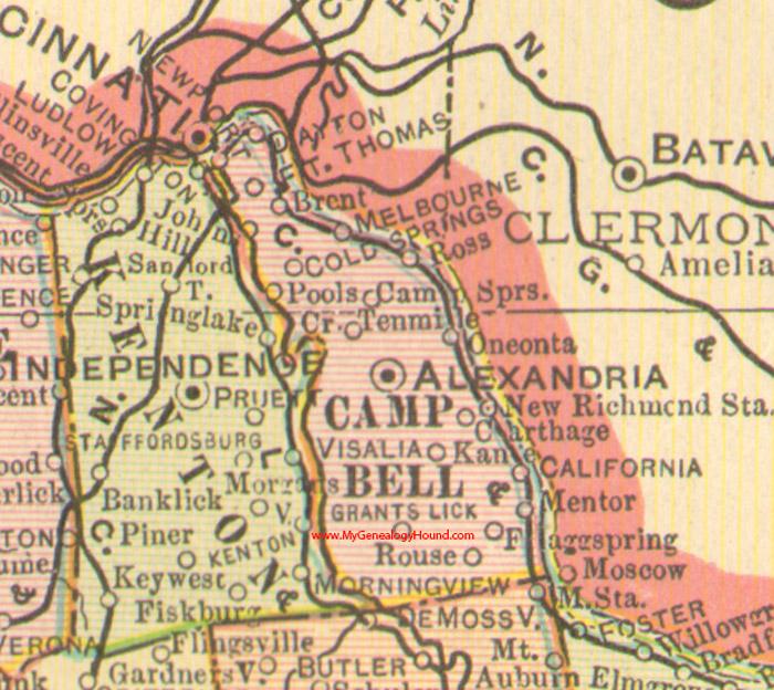 Campbell County, Kentucky 1905 Map Alexandria, KY