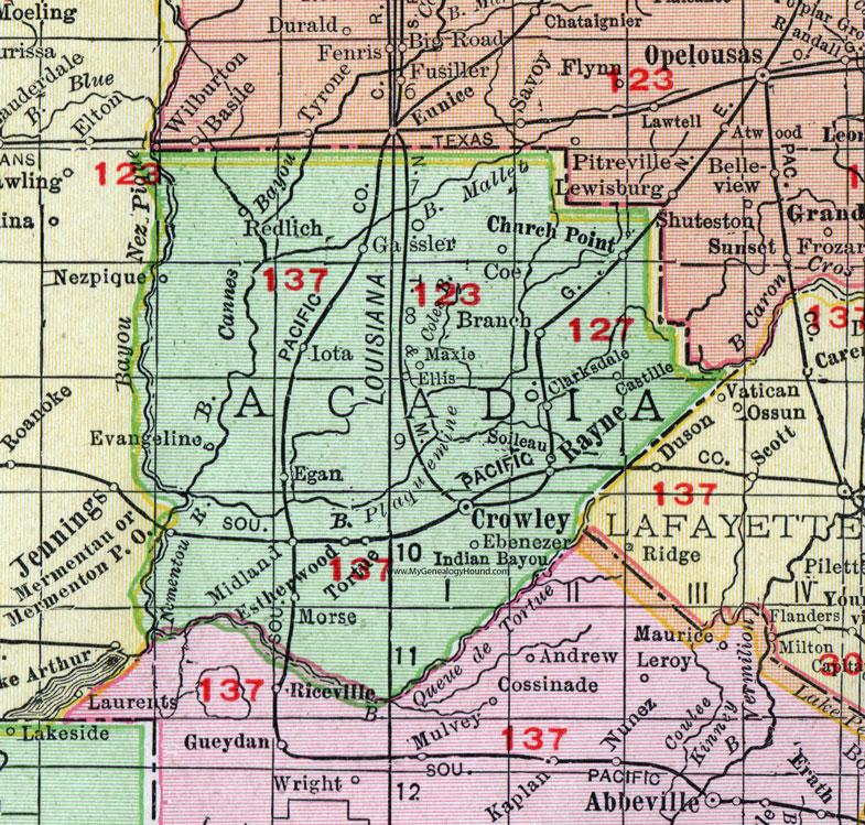 Acadia Parish, Louisiana, 1911, Map, Rand McNally, Crowley ...