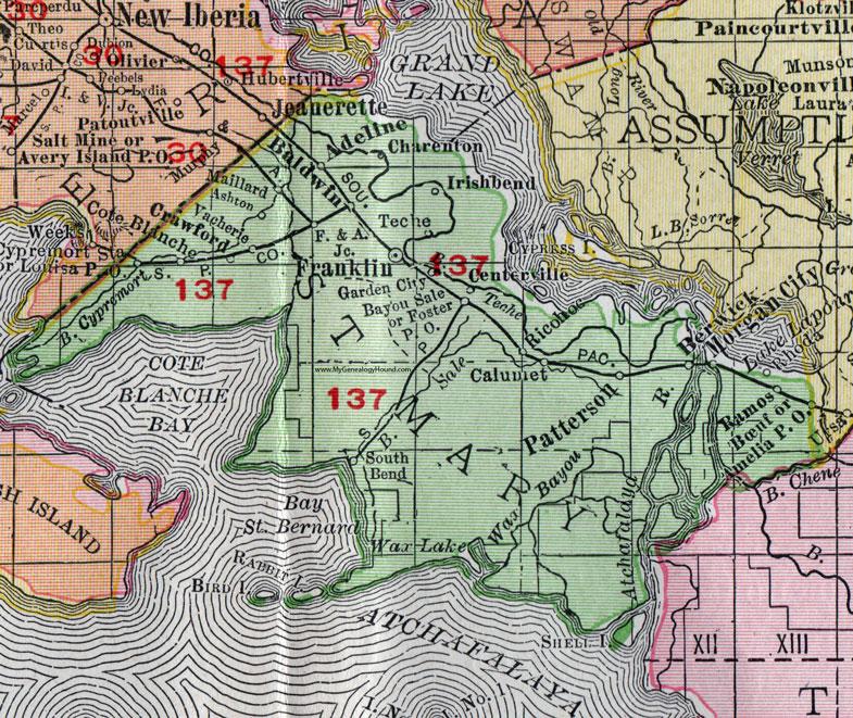 St Mary Parish Louisiana 1911 Map Rand Mcnally Franklin Morgan City Berwick Patterson Baldwin Charenton Adeline