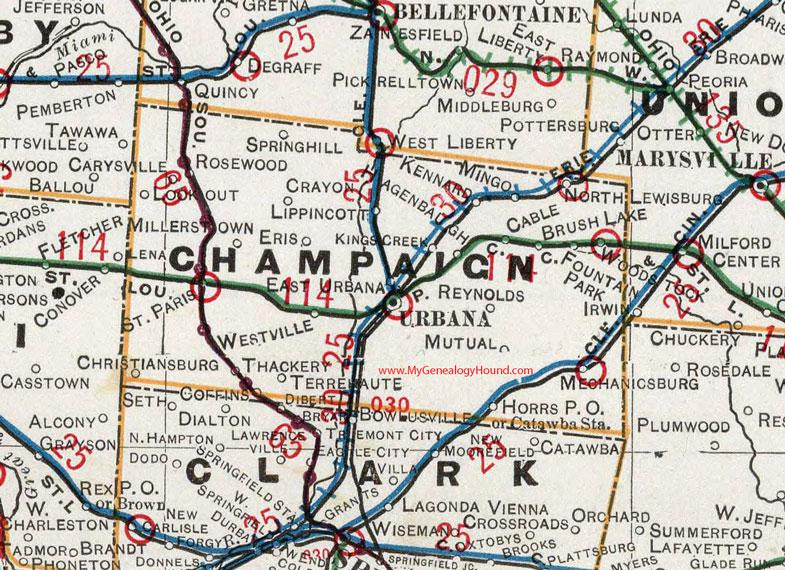 Champaign County, Ohio 1901 Map Urbana, OH on
