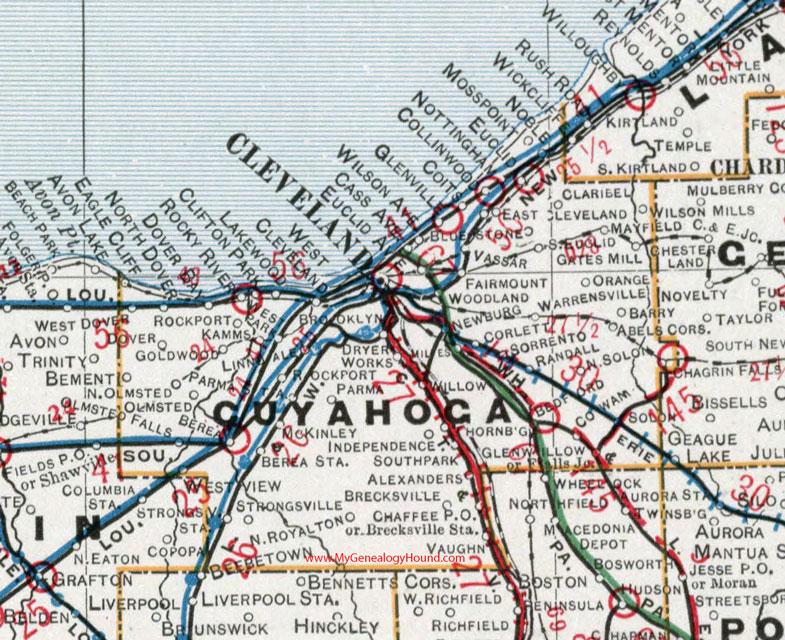 Cuyahoga County, Ohio 1901 Map Cleveland, OH on