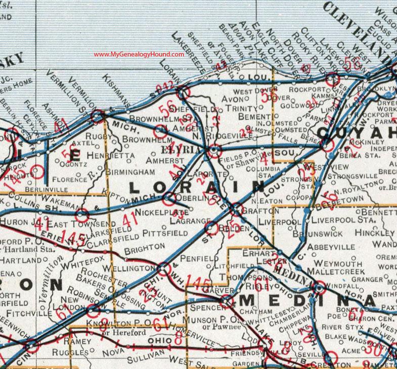 Map Of Lorain County Ohio Lorain County, Ohio 1901 Map Elyria, OH