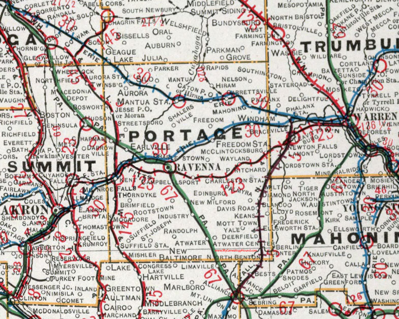 Portage County Ohio 1901 Map Ravenna Oh
