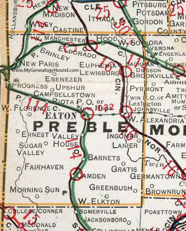 Preble County Ohio 1901 Map Eaton Oh